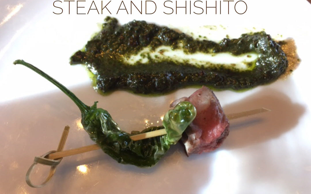 chocolate pesto steak and shishito