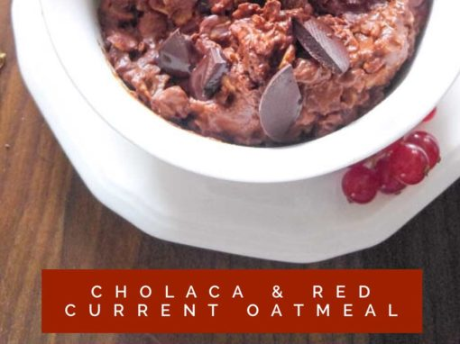 Chocolate and Red Current Oatmeal with Cholaca Chocolate